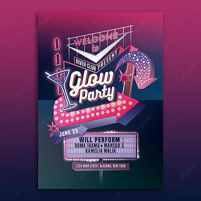 Glow Party Neon Sign Flyer Template Template for Free Download on