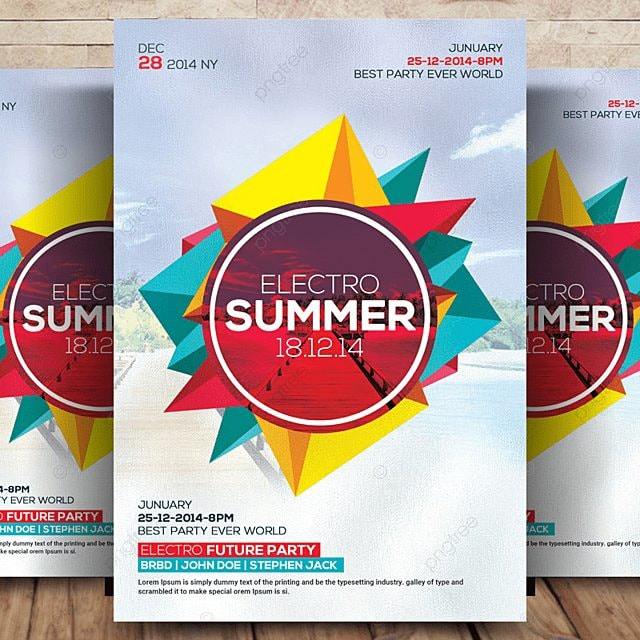 Electro Summer Flyer PSD Template for Free Download on Pngtree