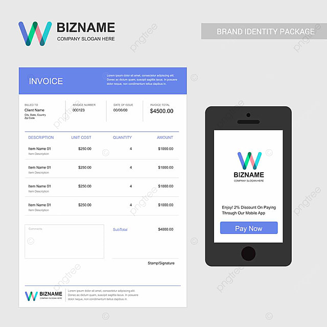 Company invoice design with stylish logo and typography Template for
