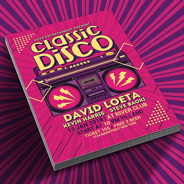Classic Disco Radio Flyer Template for Free Download on Pngtree