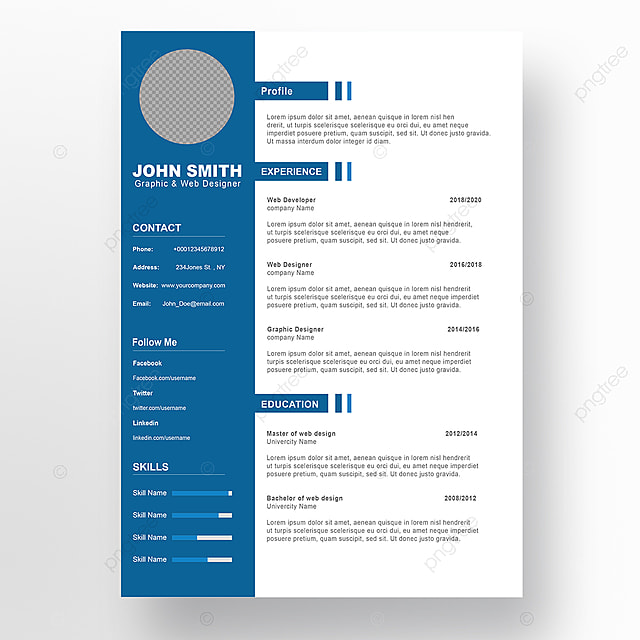 Curriculum vitae template PSD 5 Template for Free Download on Pngtree