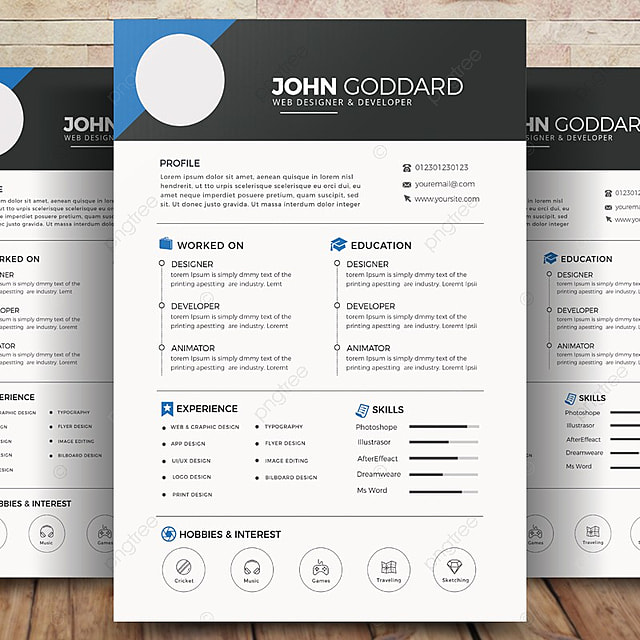 Modern CV Resume Template for Free Download on Pngtree