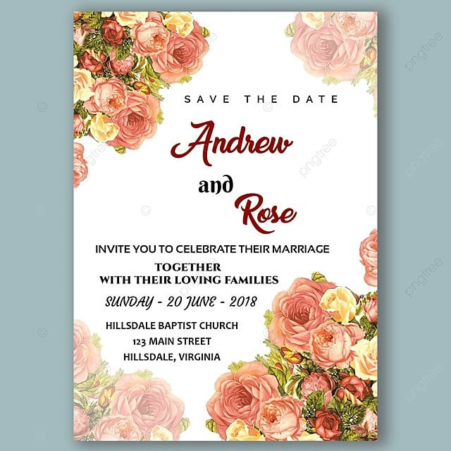 wedding card invitation template with fresh rose Template for Free