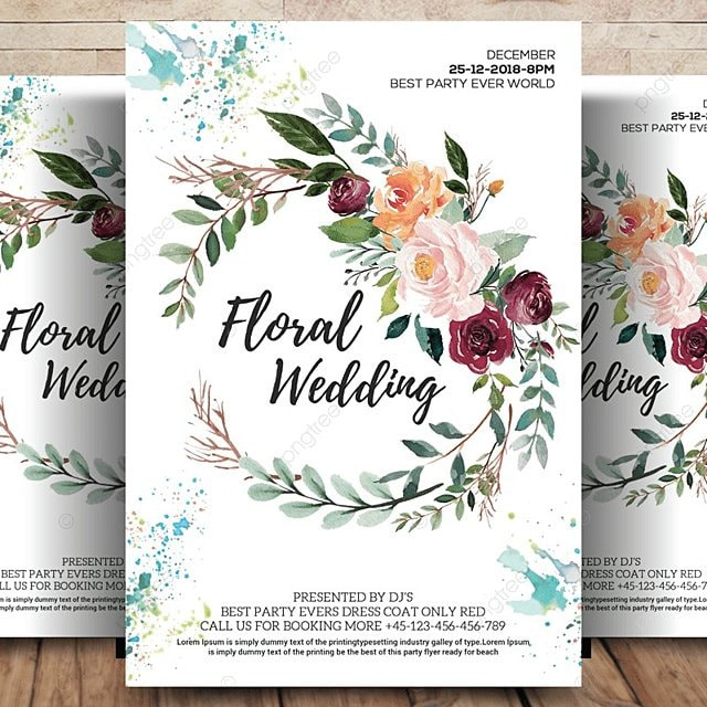 Floral Wedding Flyer/Invitation Template for Free Download on Pngtree
