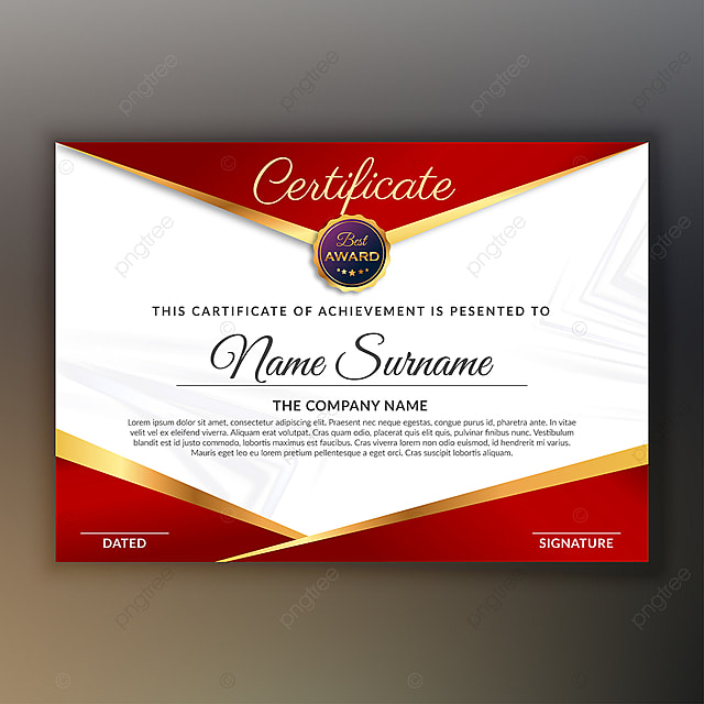 scarlet red award certificate design Template for Free Download on