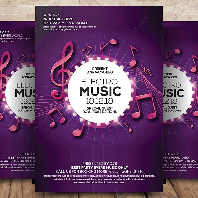 Electro Music Flyer Template for Free Download on Pngtree