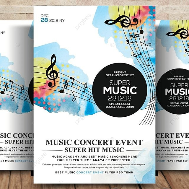 Super Music Festival Flyer Template Template for Free Download on