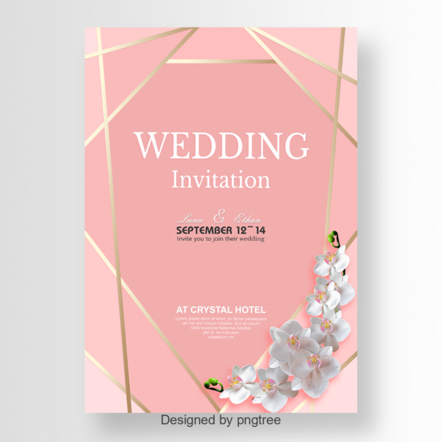 Beautiful wedding invitation with golden border Template for Free