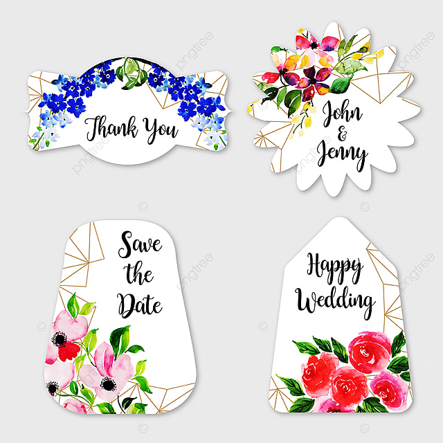 Watercolor Floral Wedding Label Collection Template for Free