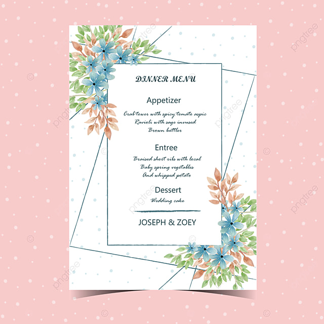 Floral Wedding Menu Card with Beautiful Flower Template for Free