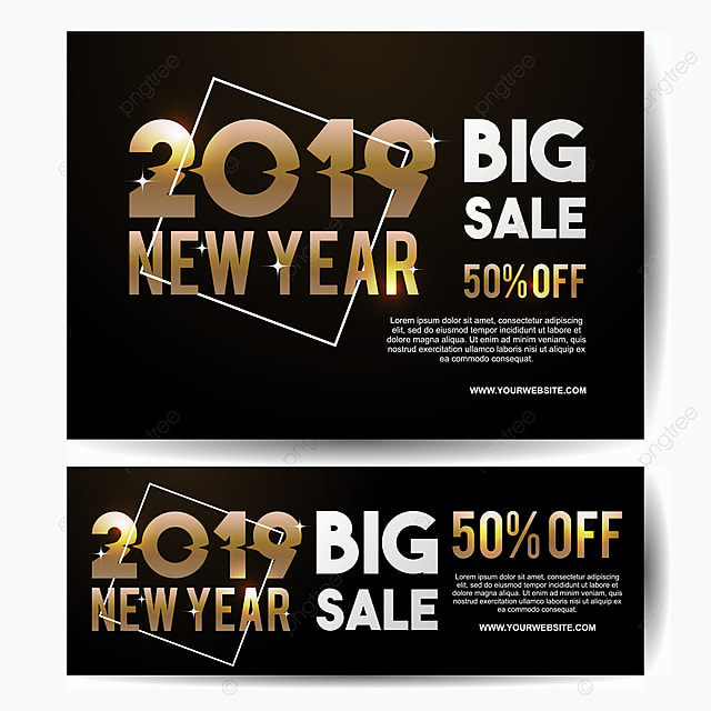 luxury new year 2019 big sale banner template gold colors vector eps