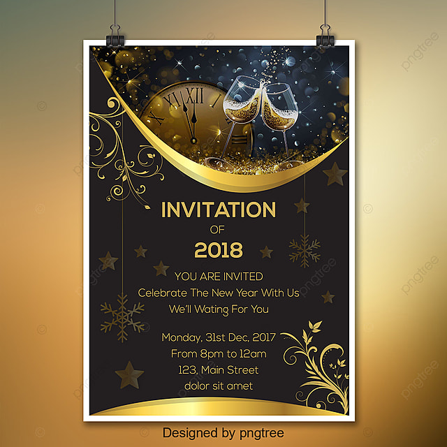 Black And Gold New Year Invitation Template for Free Download on Pngtree