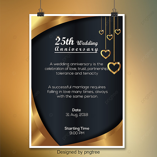 Black And Gold Wedding Anniversary Invitation Template for Free