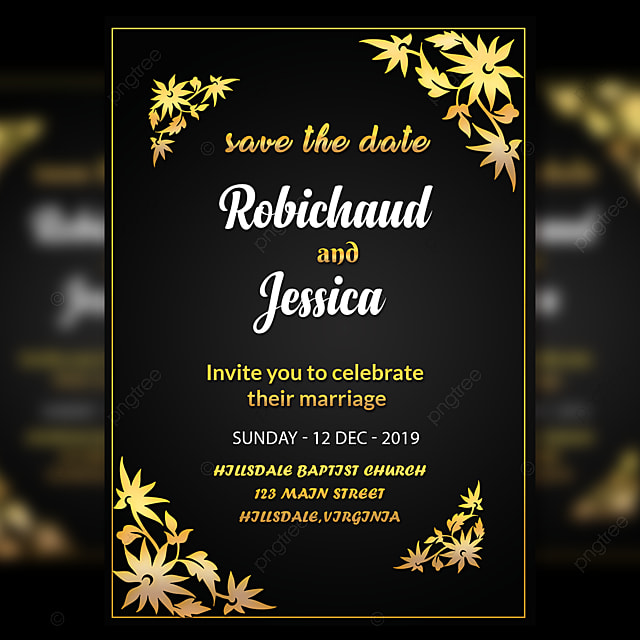 black wedding invitation card template with amzaing gold flower