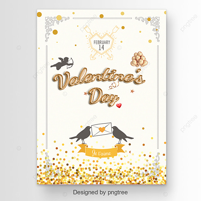 Valentine s Day greeting card with birds and love letter Template