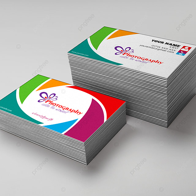 Colorful Photographer Double Sided Business Card Template Template