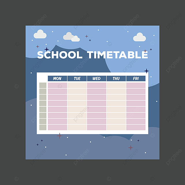 School Timetable Design Template for Free Download on Pngtree