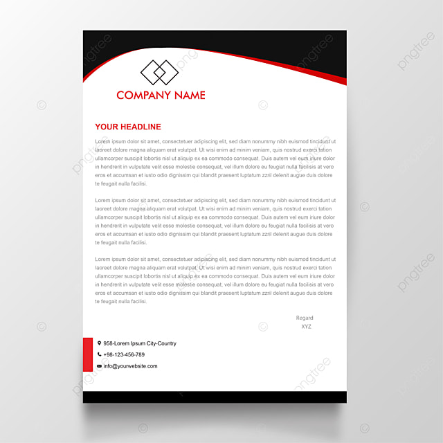 Red and Black Modern letterhead design Template for Free Download on