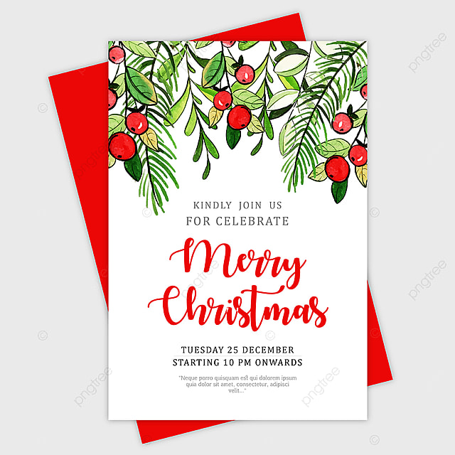 Beautiful Watercolor Christmas Greeting Card Template for Free