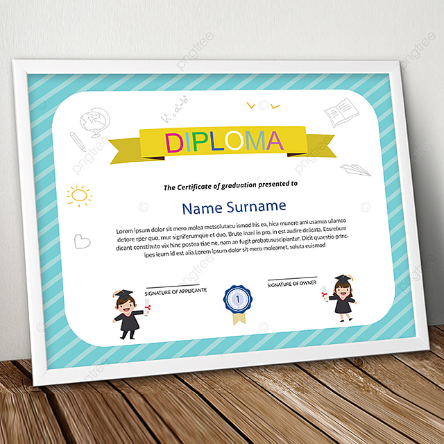 Kids Diploma Certificate Psd Template Template for Free Download on