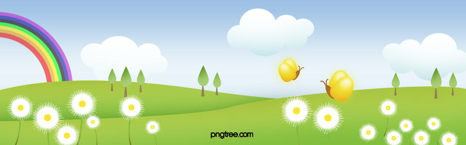 Cartoon Outskirts Spring Flowers Small Fresh Banner, Cartoon, Spring