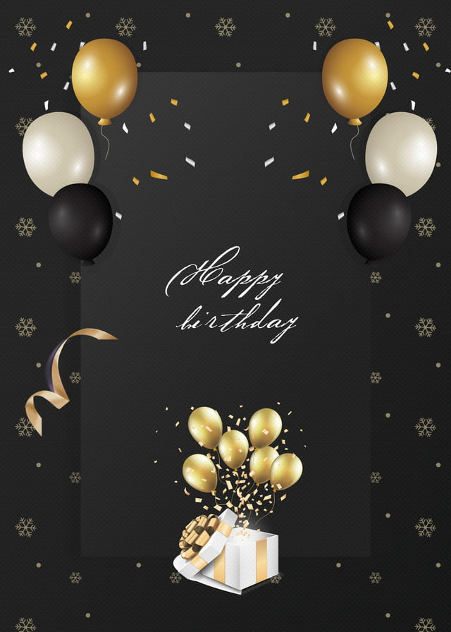 The Golden Balloon Background For The Luxurious Black Birthday Party