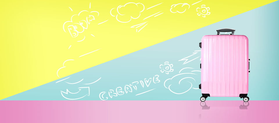 Suitcase Pink Fresh Blue, Yellow, Banner, Pink Background Background