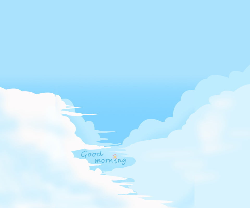 Simple Blue Sky White Clouds Illustration Background Design Painted