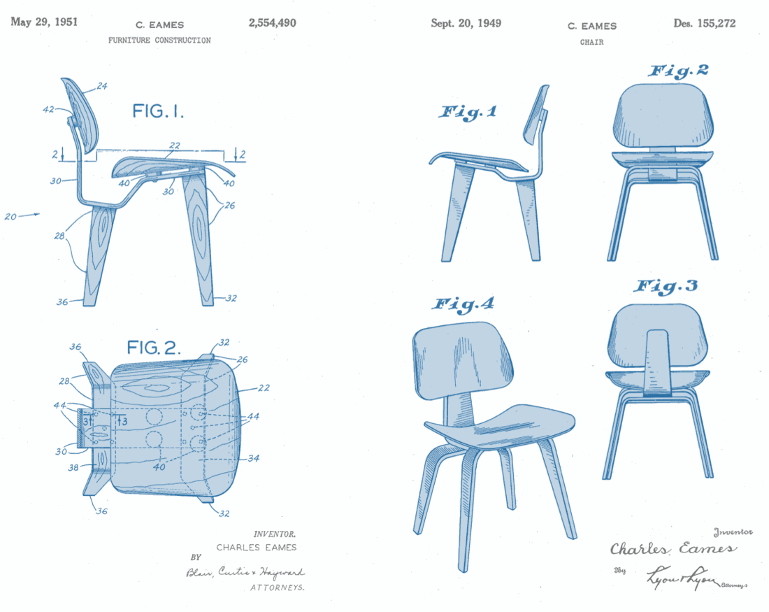 Eames Chair Drawing Design Patents For Bits And Atoms Pnw Startup Lawyer