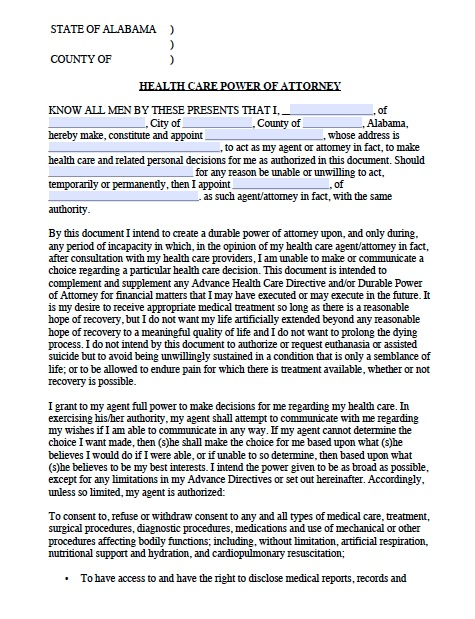 Free Alabama Medical Power of Attorney Forms and Templates - sample medical power of attorney form example