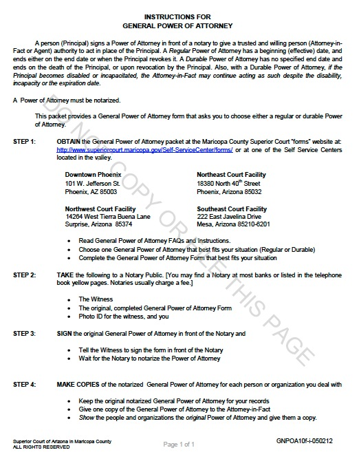 Free Arizona Durable General Power of Attorney Form Template - general power of attorney form