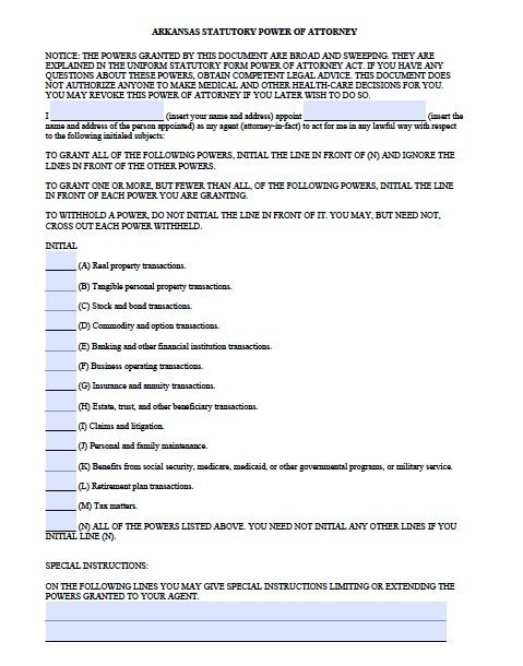 Free Arkansas Statutory Durable Power of Attorney Form Template