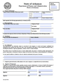 Free Arkansas Tax Power of Attorney Form   Template