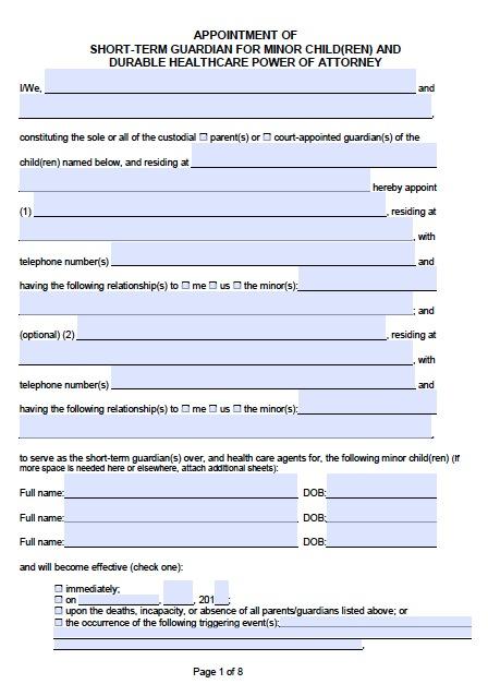 Free California Guardianship for a Minor POA Form Template