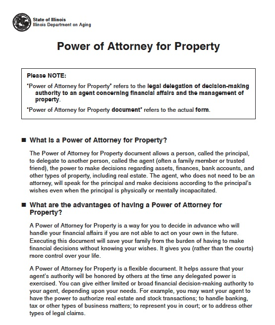 Free Illinois Durable Power of Attorney Short Form \u2013 PDF
