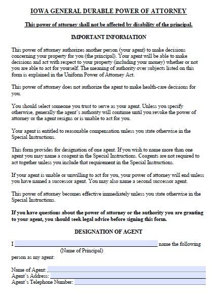 Free Iowa Durable Power of Attorney Form u2013 PDF Template - sample medical power of attorney form example