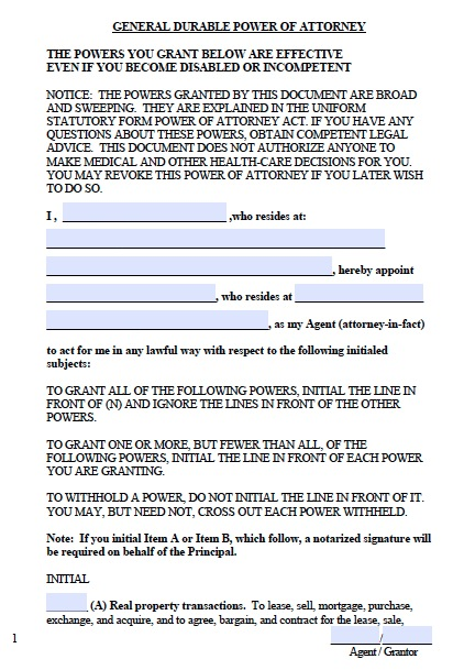 Free West Virginia Financial Power of Attorney Form \u2013 PDF \u2013 Word