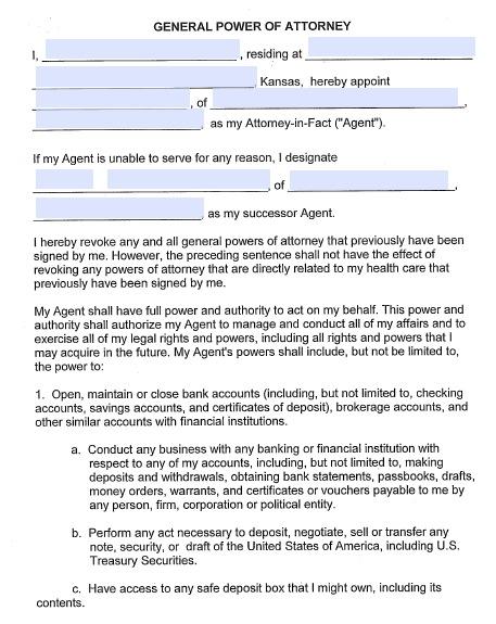 Free Kansas Durable (Financial) Power of Attorney Form \u2013 PDF