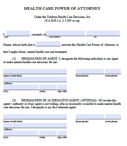 Free Maine Medical Power of Attorney Form \u2013 PDF Template - Medical Power Of Attorney Form