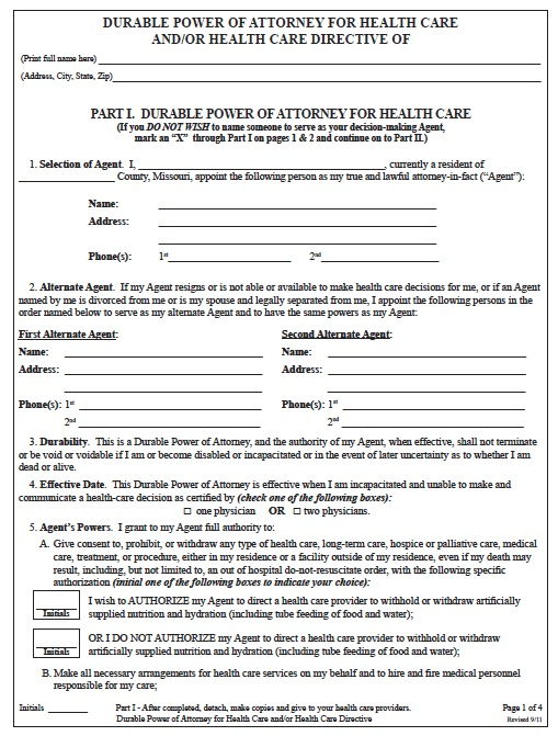 Free Missouri Medical Power of Attorney Form \u2013 PDF Template