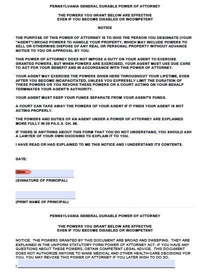 Free Pennsylvania Power of Attorney Forms and Templates - general power of attorney forms