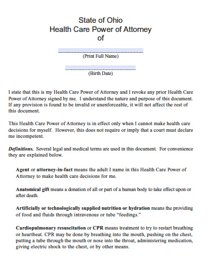 Free Ohio Medical Power of Attorney Form \u2013 PDF Template - Medical Power Of Attorney Form