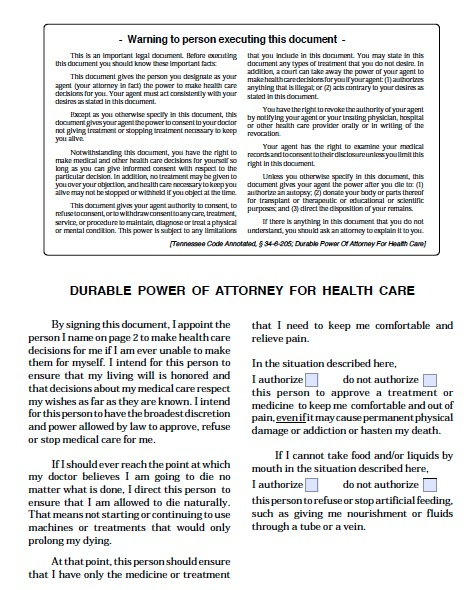 Free Tennessee Power of Attorney For Health Care Form \u2013 PDF Template