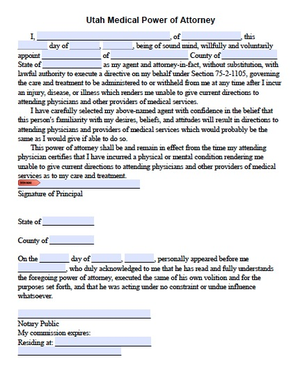 Free Utah Medical Power of Attorney \u2013 Living Will \u2013 PDF Templates