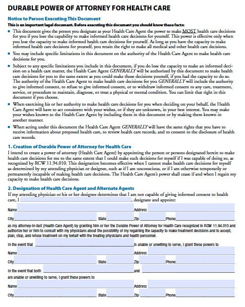 Free Washington State Medical Power of Attorney Form (Advance Directive) - Advance Directive Forms