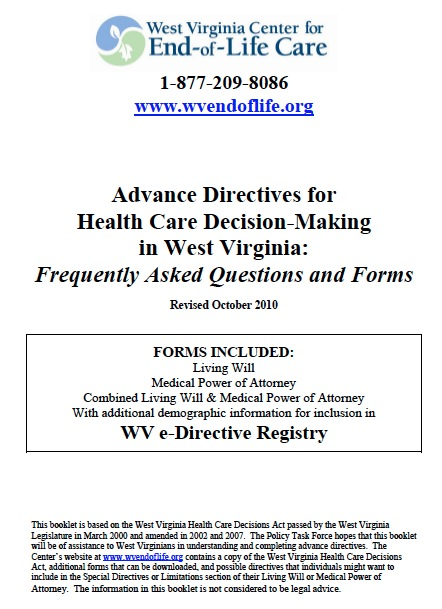 Free West Virginia Medical Power of Attorney Form \u2013 PDF Template - Advance Directive Forms