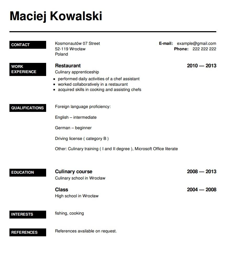 Cv English Proficiency Curriculum Vitae Example Waiter
