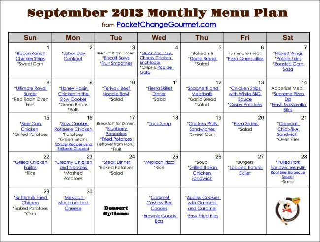 Weekly Menu Plan September 23 Recipe Pocket Change Gourmet