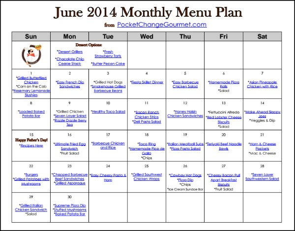 June Menu Plan 2014 Recipe Pocket Change Gourmet
