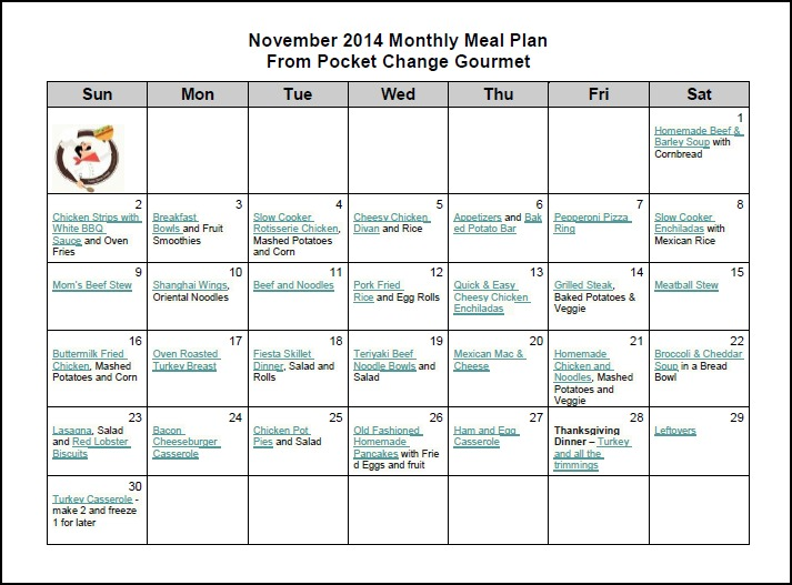 November Monthly Meal Plan 2014 Recipe Pocket Change Gourmet - meal plans